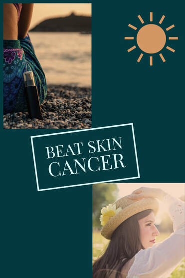 woman sitting at the beach with a bottle of sunscreen at her side, woman looking off into the distance with a hat on and long sleeve shirt- skin cancer awareness sulphur la, beat skin cancer- schlamp family medical clinic